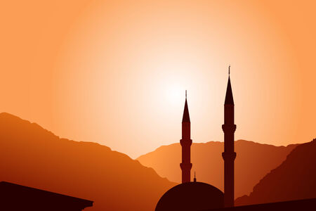 islamic pray: Vector mosque silhouette at sunset, with mountains on background