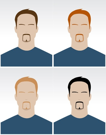 hair style set: Vector set of simple male faces with different hair color for documents