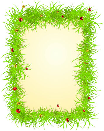 spring frame with grass and ladybugs  Vector