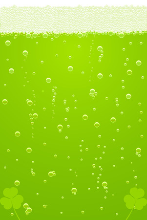 lucky day: green beer texture with clover for St. Patricks Day  Illustration
