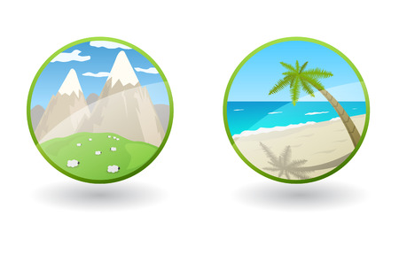 travel icons with sea and mountains Stock Vector - 9072679