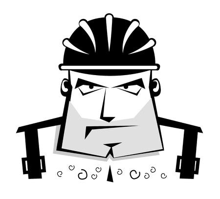 illustration of worker in protective helmet  Vector