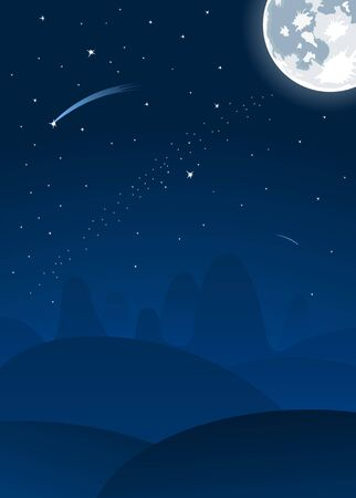 night landscape with full moon and falling stars  Vector