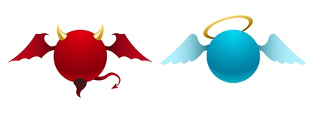 diabolic: Vector simple devil and angel icons