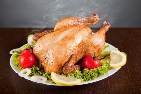 Roast chicken with fresh vegetables  photo