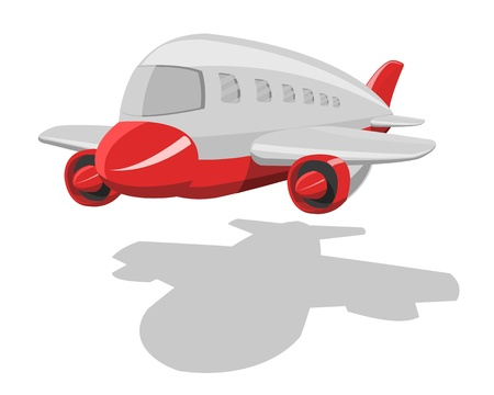 cartoon airplane, isolated on white background  Vector
