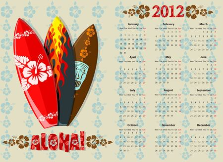 European Aloha vector calendar 2012 with surf boards, starting from Mondays Vector