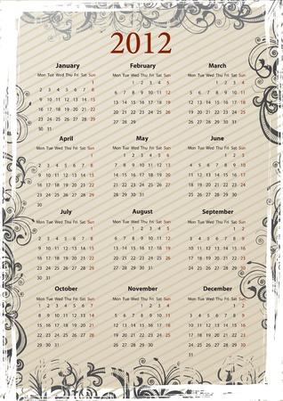 European Vector beige floral grungy calendar 2011, starting from Mondays Stock Vector - 9675562