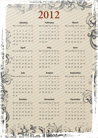 mondays: European Vector beige floral grungy calendar 2011, starting from Mondays Illustration