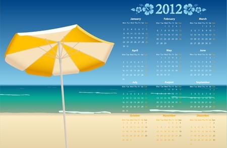 mondays: Vector European calendar 2012 with tropic beach, starting from Mondays
