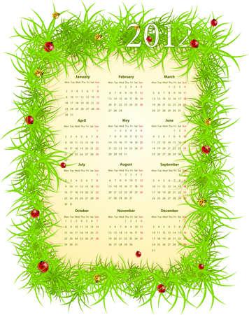 mondays: Vector illustration of spring 2012 calendar, starting from Mondays