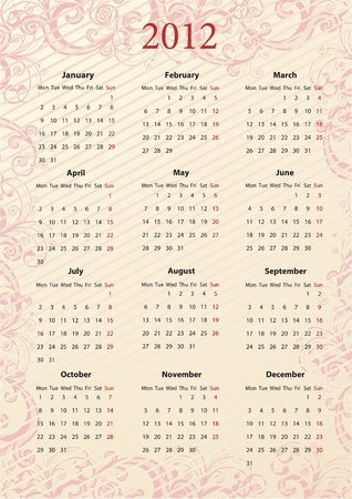 European pink floral calendar Stock Vector - 9863179