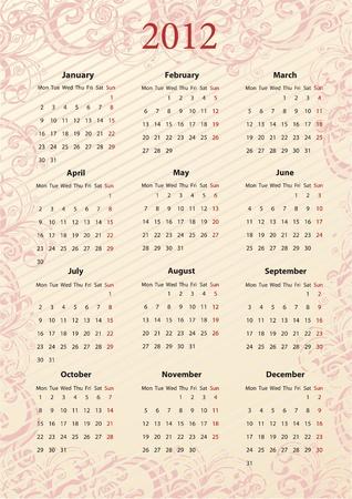 almanac: European pink floral calendar