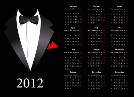 mondays: European calendar with elegant suit