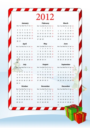 mondays: illustration of European calendar 2012 with gift boxes, starting from Mondays