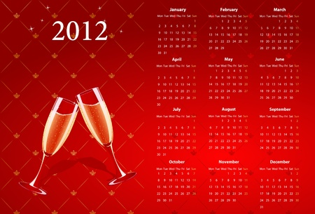 European red calendar 2012 with champagne, starting from Mondays  Vector