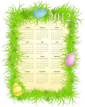 illustration of Easter calendar 2012, starting from Mondays Stock Vector - 10390155