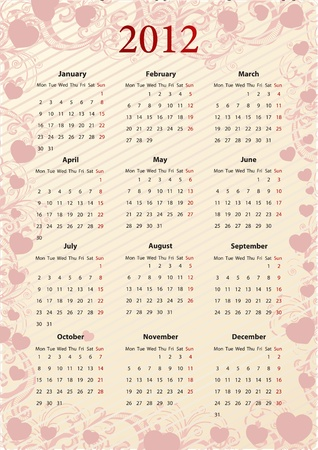 American pink floral calendar 2012 with hearts, starting from Sundays  Vector