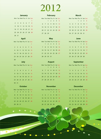 leafed: illustration of 2012 calendar for St. Patricks Day, starting from Mondays