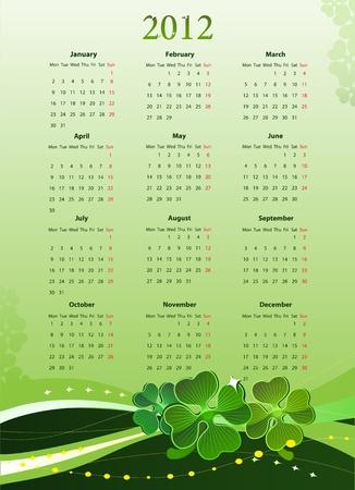 four leafed clover: Ilustraci�n del calendario de 2012 para el d�a de San Patricio, desde el lunes  Vectores