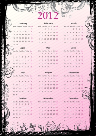 mondays: European pink floral grungy calendar 2012, starting from Mondays