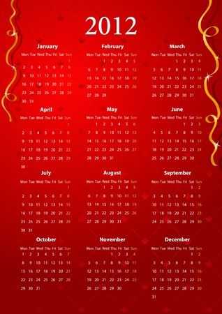 mondays: European red calendar 2012, starting from Mondays  Illustration