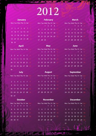 European floral pink and black grungy calendar 2012, starting from Mondays Vector
