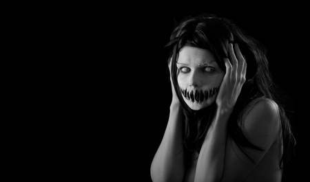Halloween girl with scary mouth, extreme body-art  photo
