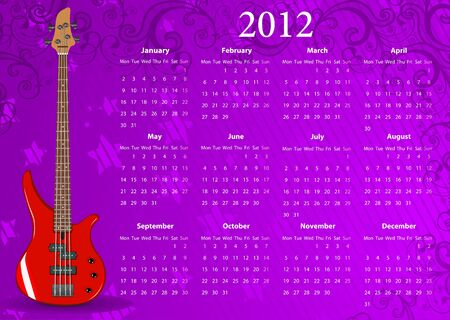 mondays: Vector European calendar 2012 with bass guitar, starting from Mondays