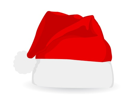 illustration of red New Year hat, isolated on white background  Vector