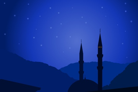 islamic scenery: illustration of dark blue Arabic night with mosque silhouette