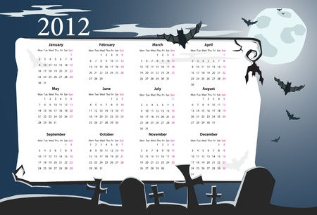 European Halloween calendar 2012 with cemetery, full moon and bats (starting from Mondays) Stock Vector - 10901090