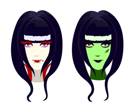characters for Halloween, funny vampire and green zombie girl  Vector