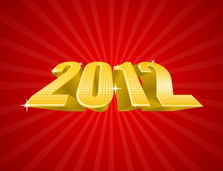 Illustration of golden 2012 year on red luxury background  Vector