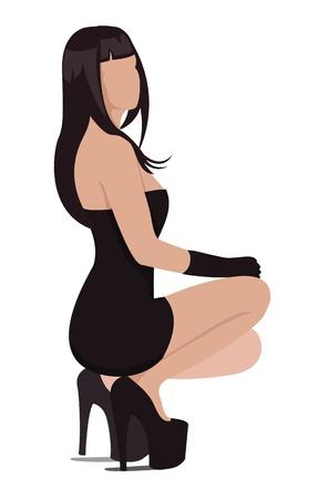 Illustratie van de sexy vrouw in mini-jurk en hoge hakken