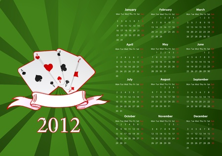 European calendar with cards over green background Stock Vector - 11508185