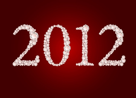 illustration of diamond 2012 year on red background  Vector