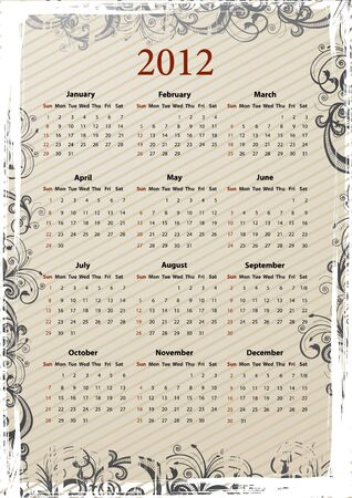 European beige floral grungy calendar 2011, starting from Mondays Vector
