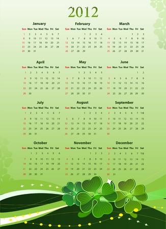 four leafed clover: ilustraci�n de Am�rica 2012 calendario para el D�a de San Patricio, a partir del domingo