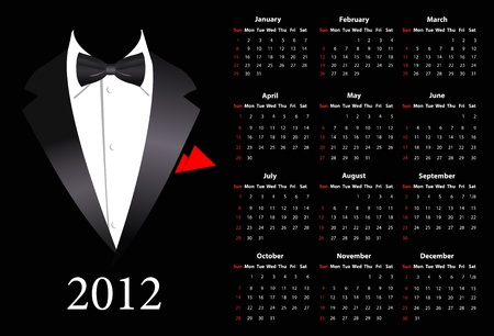 American calendar 2012 with elegant suit, starting from Sundays Vector