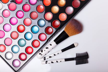 Colorful lip gloss palette with set of brushes, studio shot on white background  photo