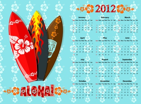 American blue Aloha vector calendar 2012 with surf boards, starting from Sundays Vector