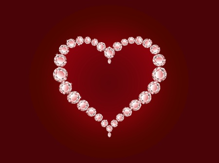 Vector luxury diamond heart on red background  Vector