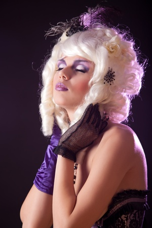 Burlesque girl portrait, soft light  photo