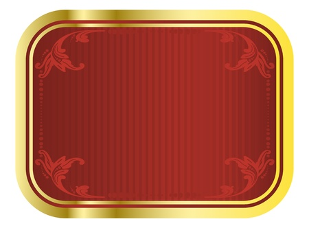 Vector red and gold beer tag with floral patterns  Vector