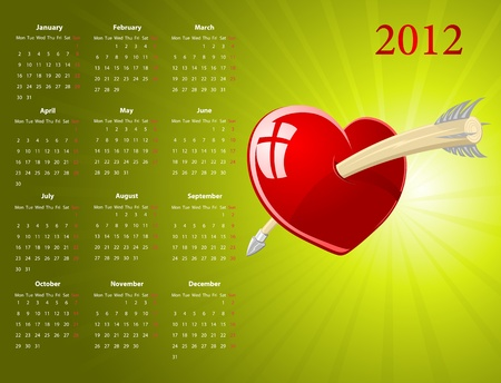 Vector European calendar with glossy heart for Valentines Day  Vector
