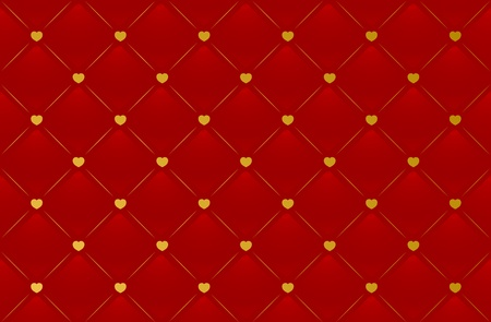 Vector red leather background with hearts for Valentines Day  Vector