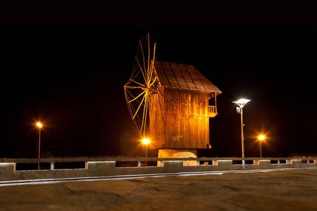Black Mill in Old Nessebar, night view  photo