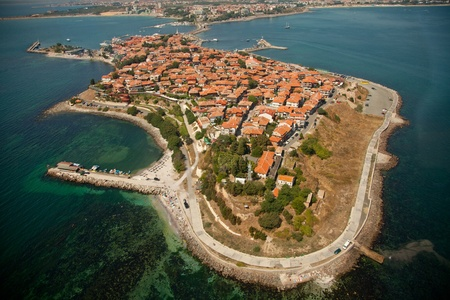bulgaria: Old Nessebar city, Bulgaria, aerial view from helicopter  Stock Photo