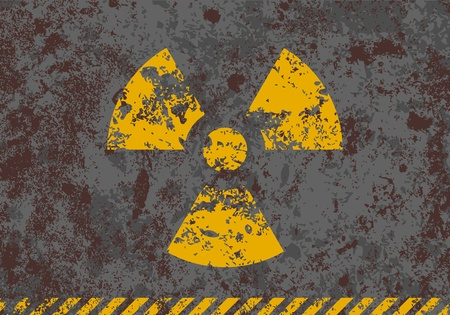 Vector grunge illustration of radiation sign on textured background Stock Vector - 12284427